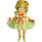 """RARE 17"""" Vintage Composition Shirley Temple Doll in Orig Clothes Dress Shoes"""