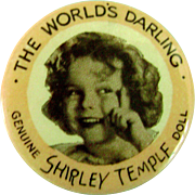 Vintage Original 1930's Ideal Shirley Temple Composition Doll Button Pin Pinback