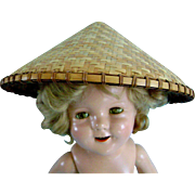 "Vintage ""Stowaway"" Hat for Ideal Composition Shirley Temple Doll 4 Asian Bisque"