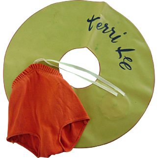 Vintage Original 1950's Terri Lee Doll TAGGED Clothes Swimsuit & Inner Tube