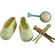 Vintage Original Tiny Tears Doll Shoes, Rattle, Clothes Pins Betsy Wetsy Dy-Dee