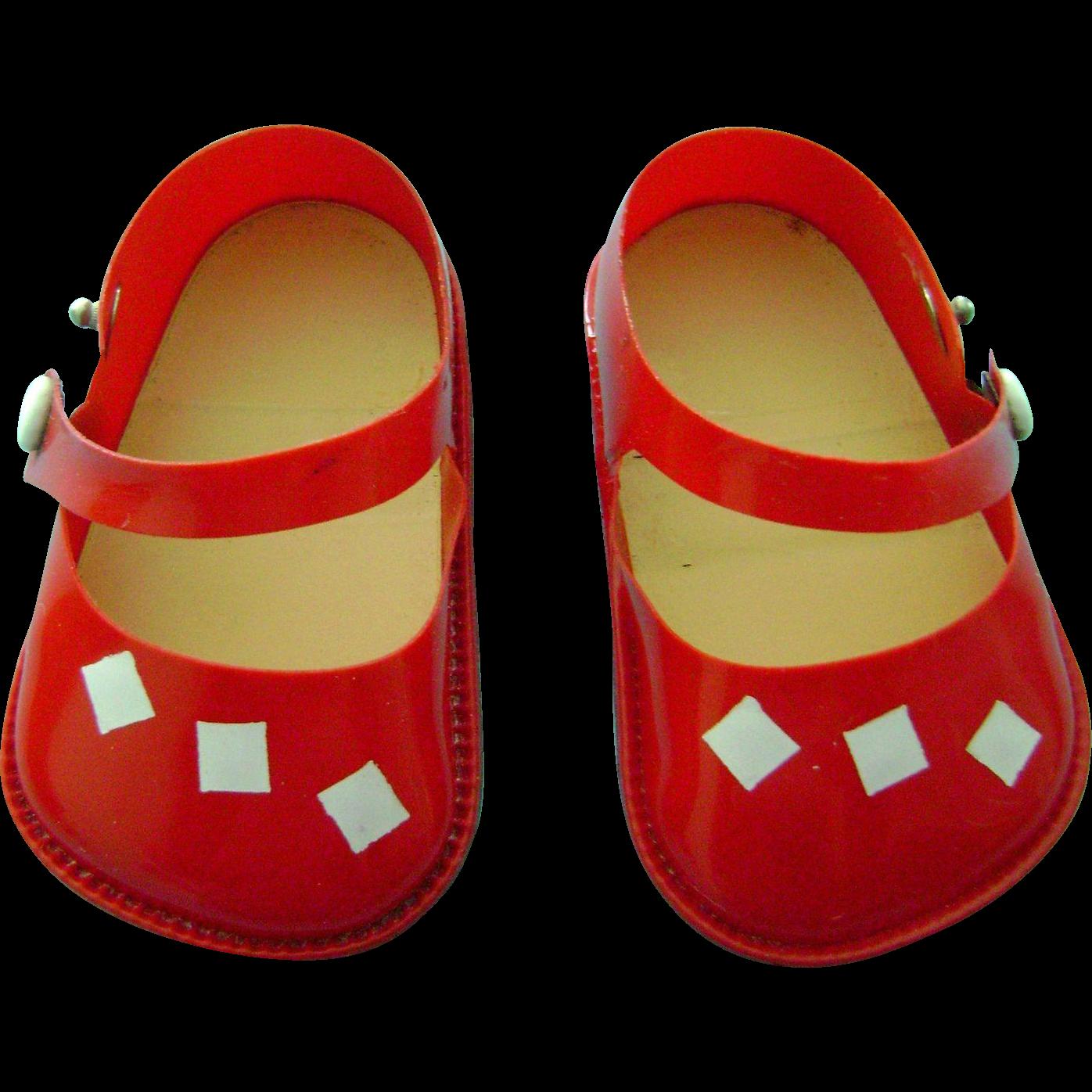 Vintage German Turtle Mark Celluloid Doll Shoes Kathe Kruse Germany