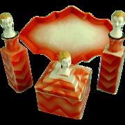 Vintage Half Doll Related Art Deco Pierrot Perfume Bottle Powder Jar Tray German