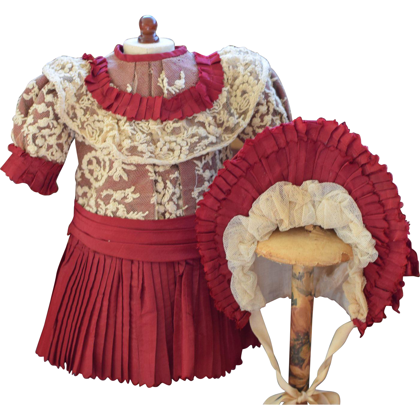 Burgundy Silk Doll Dress and Matching Bonnet