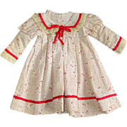 Vintage Pretty Cotton Print Doll Dress
