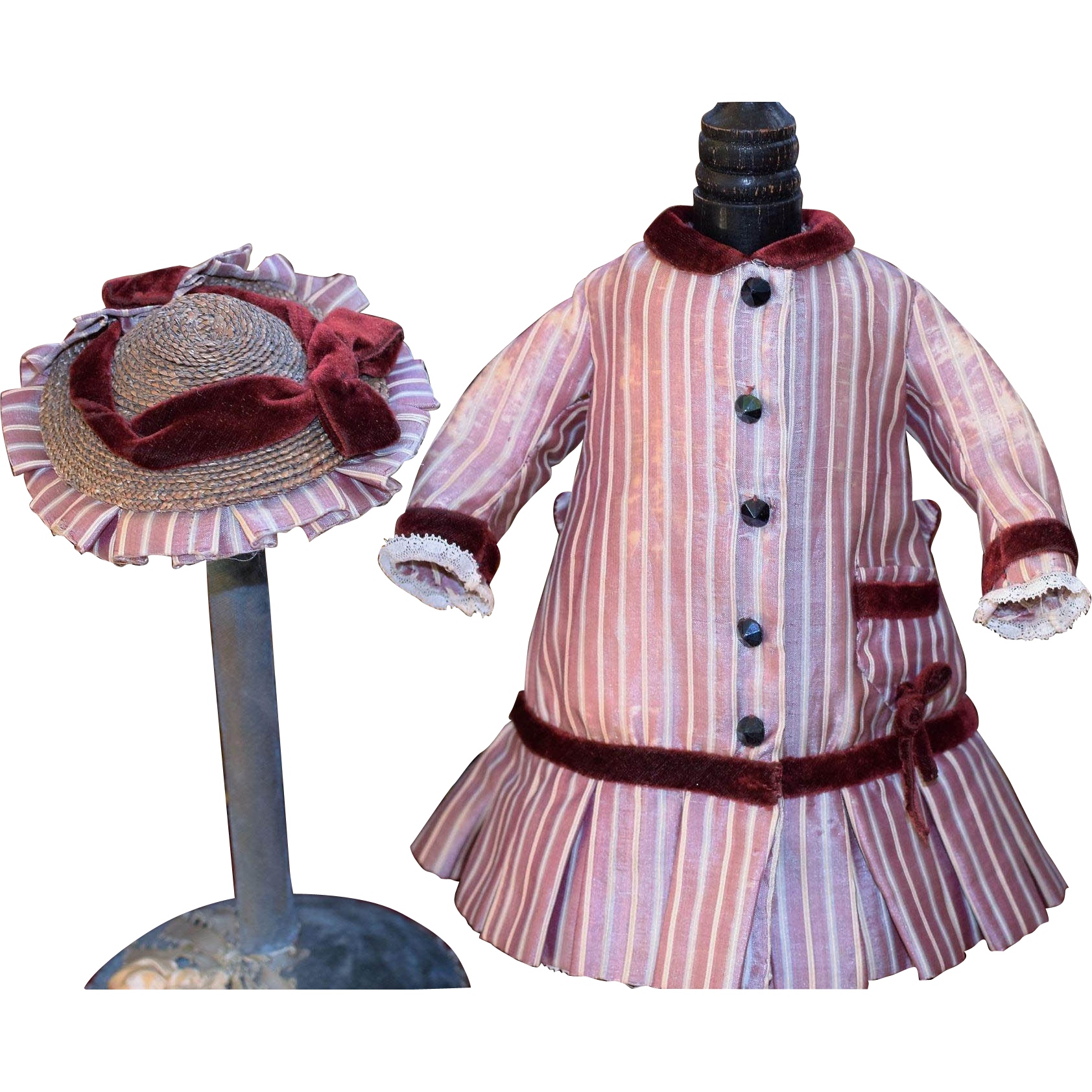 Beautiful Antique Doll Dress with Matching Hat