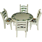 Hand Painted Miniature Doll Table and Chairs