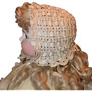Crocheted Silk Ribbon Doll Bonnet