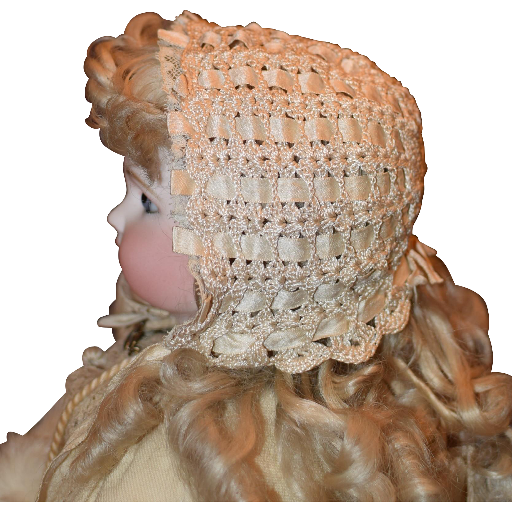 Crocheted Silk Ribbon Doll Bonnet