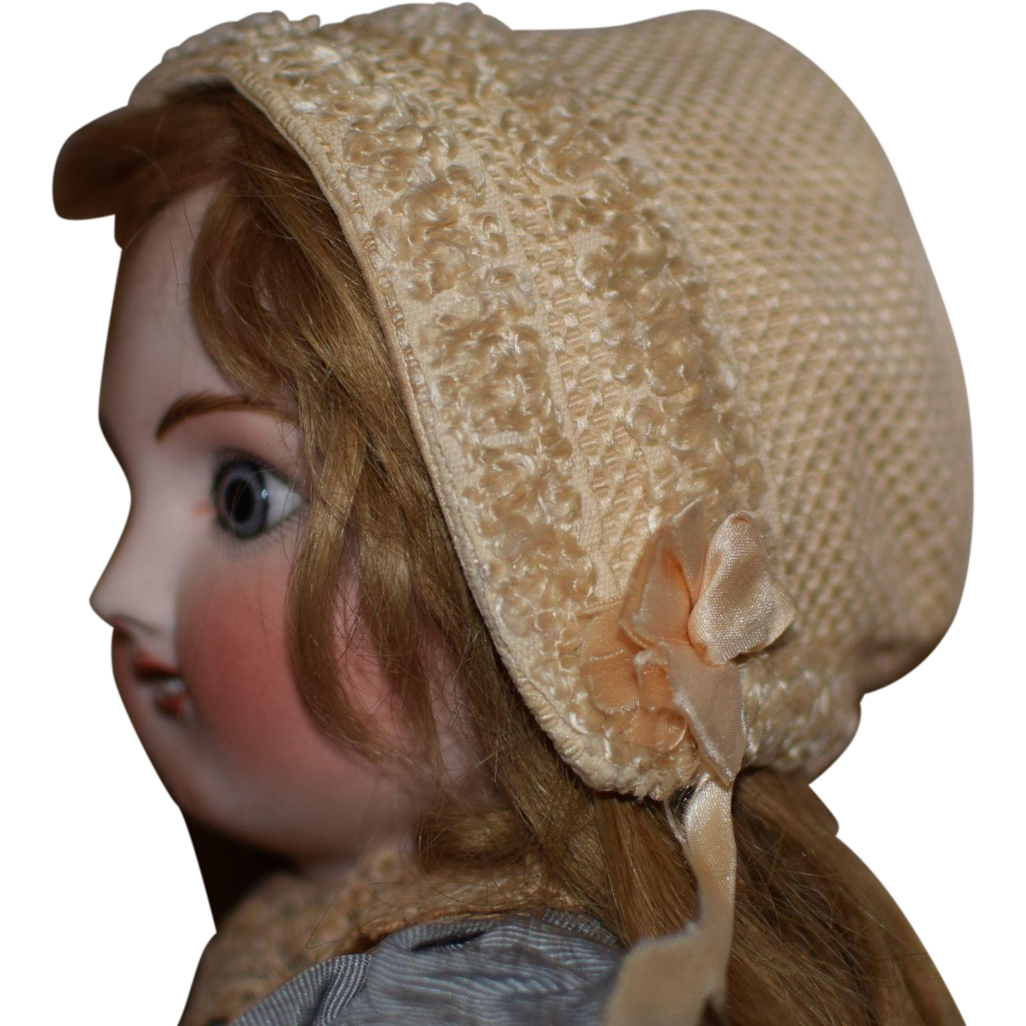 Wonderful Silk Doll Bonnet with Raised Pattern