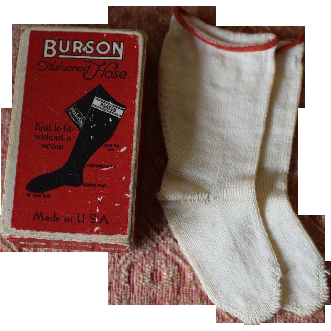 "Burson Socks in Original Box with note to ""Dear Mother"""