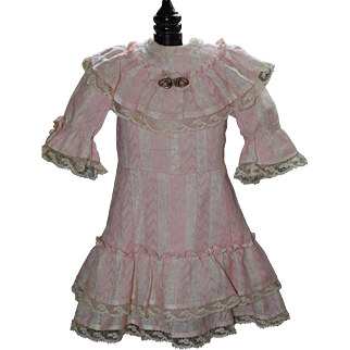 Pink and Cream Striped Antique Doll Dress