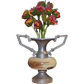 Marble Vase with Silk Flowers for French Fashion Display