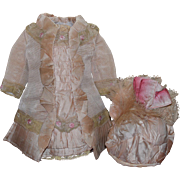 Beautiful Pale Pink Silk Faille Doll Dress and Hat