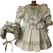 Beautiful Ecru with Aqua Trim Doll Dress