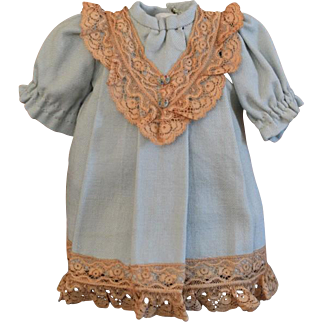 Adorable Light Blue Wool Doll Dress