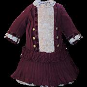 Beautiful Burgundy Doll Dress with Matching Cap