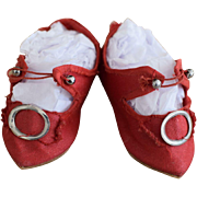 French Cut Red Doll Shoes