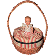 Rare Antique French Doll Basket