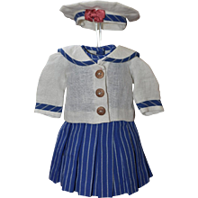 Blue and White Mariner's Outfit for an Antique Dolll