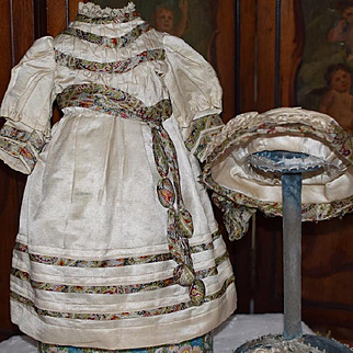 Exquisite Antique Doll Dress With Hat