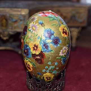Gold German Easter Egg Candy Container