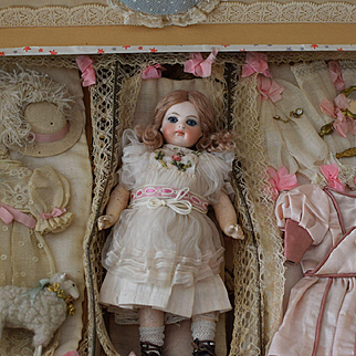 Antique French Presentation Box with Doll and Accessories