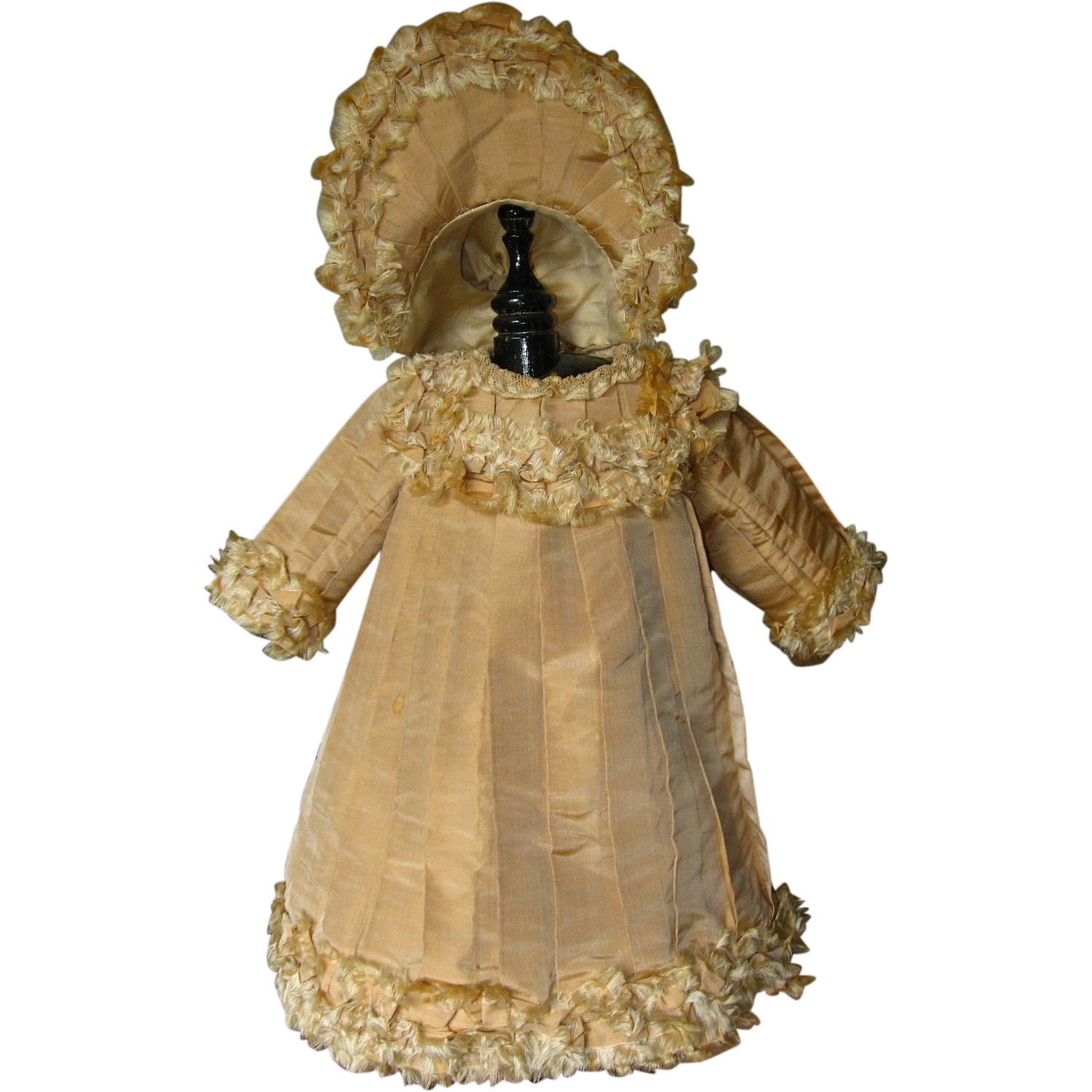 Gorgeous Beige Silk Doll Dress with Hat