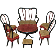Antique Bentwood Dollhouse furniture set