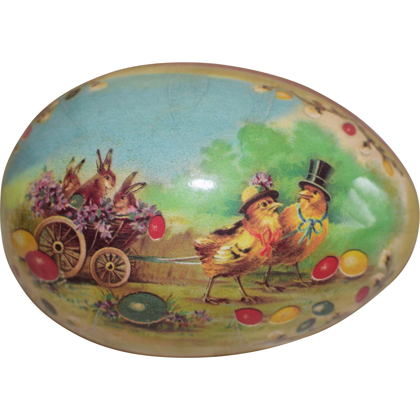 Large German Easter Egg Candy Container