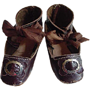 Antique brown leather doll shoes