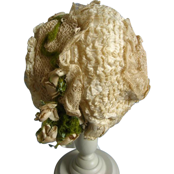 Very early French doll bonnet