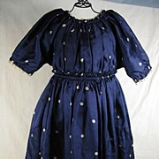 Blue Silk Polka Dotted Doll Dress