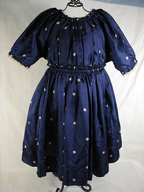 Blue Silk Polka Dotted Doll Dress