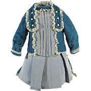 Gorgeous blue dress for antique doll