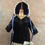 Antique velvet doll dress with bonnet