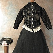 Antique French Fashion dress and hat