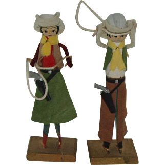 """Vintage 5"""" Clothespin Cowboy And Cowgirl Couple Marked"""