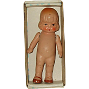 "Vintage  4"" Painted Bisque Doll Marked JAPAN In Original Box"