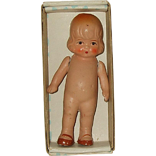 """Vintage  4"""" Painted Bisque Doll Marked JAPAN In Original Box"""