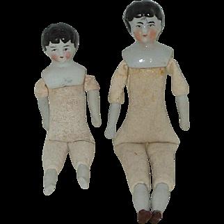 "2 Vintage German China Head Dolls  5 1/2"" And 4"""