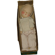 "7""  'Sleepy Baby' Cloth Doll In Box  Circa 1957"