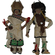 Vintage Pair Of San Juan Pueblo Buffalo Dancer Dolls Native American  Hand Made One Of A Kind Circa 1940's