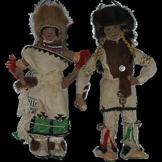 Vintage Pair Of San Juan Pueblo Buffalo Dancer Dolls Native American  Hand Made One Of A Kind Circa 1940's
