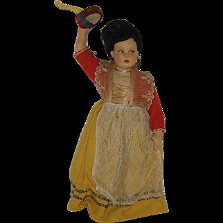 "Vintage 11"" Felt Italian Girl Doll  With Tambourine  Circa 1950"