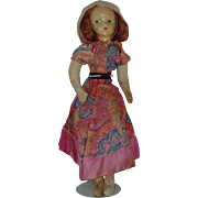"Vintage 19"" Cloth Doll With Celluloid Mask Face"
