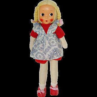 """19"""" Poland Cloth Doll With Mask Face Circa 1960"""