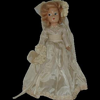 """Vintage 11""""  Composition Bride Doll Circa 1940's"""