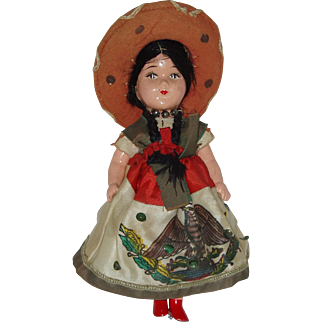 "Vintage 10"" Composition Mexican Senorita Doll"