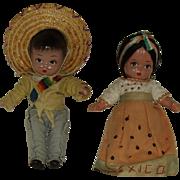 """Vintage 7 1/2"""" Composition Mexican Senor And Senorita Circa 1950"""